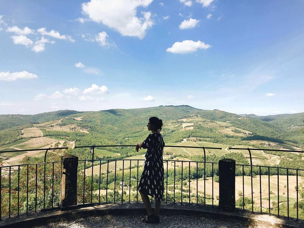 Tour del Chianti il panorama dal belvedere di Radda in Chianti