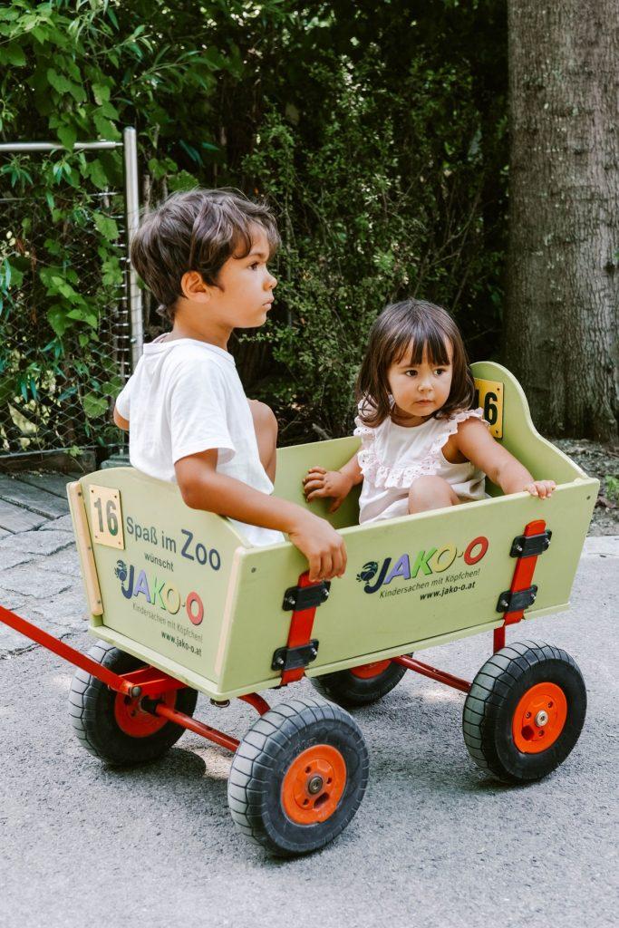 bambini dentro ad un carrellino in legno con ruote per visitare lo zoo di vienna