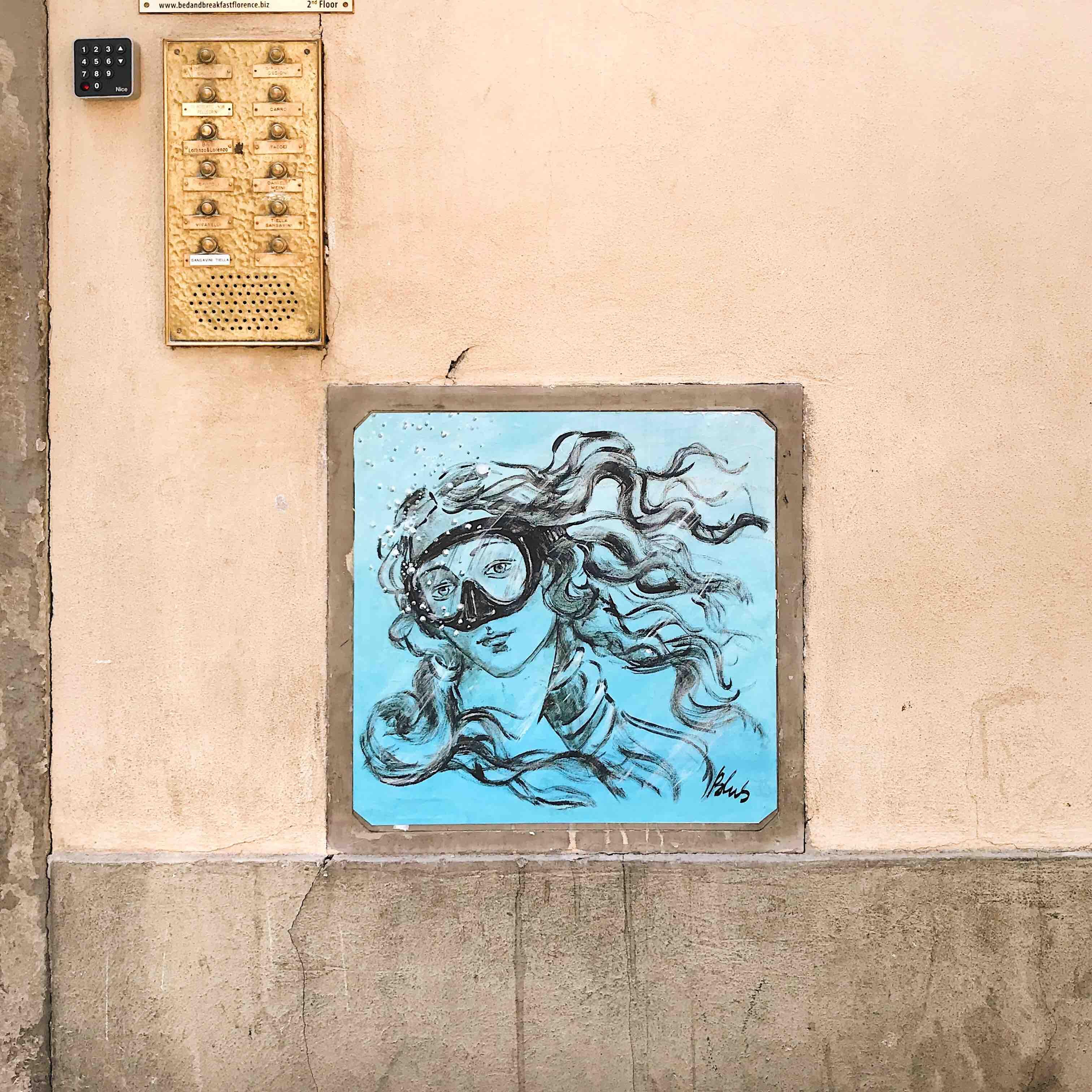 Blub: street art a Firenze, la Venere di Botticelli sott'acqua