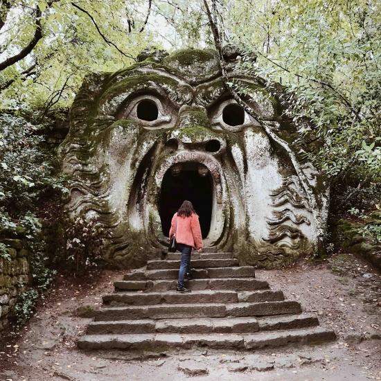Gita al Parco dei Mostri di Bomarzo: faccia del mostro