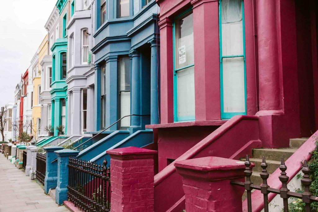 luoghi più belli da fotografare a Londra: case colorate a Notthing Hill