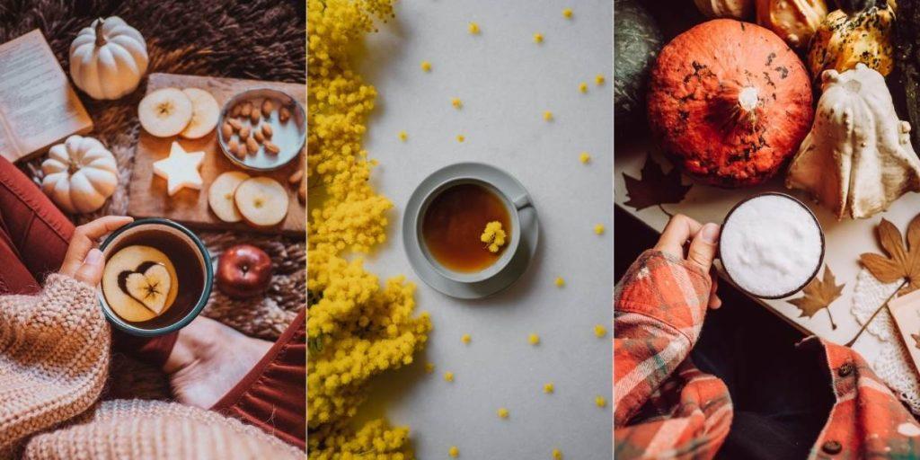 esempi di flatlay con tazze di caffe