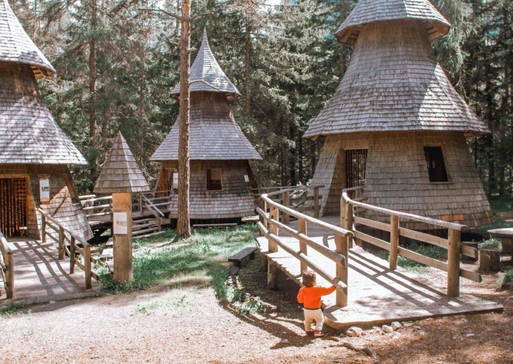 case di legno in mezzo al bosco