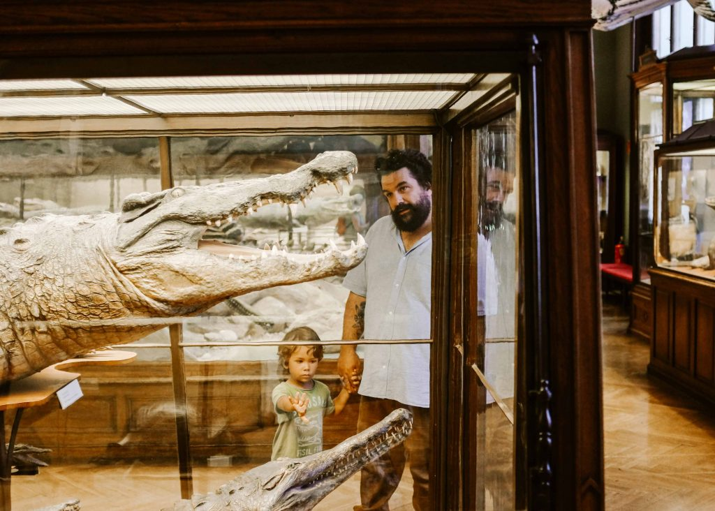 papà e bambino al museo