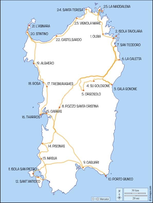 mappa con itinerario completo della sardegna
